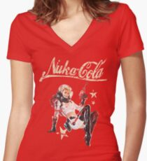 Nukacola Pin-up Women's Fitted V-Neck T-Shirt