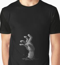 Zombie Grasp Pixels Black and White Graphic T-Shirt