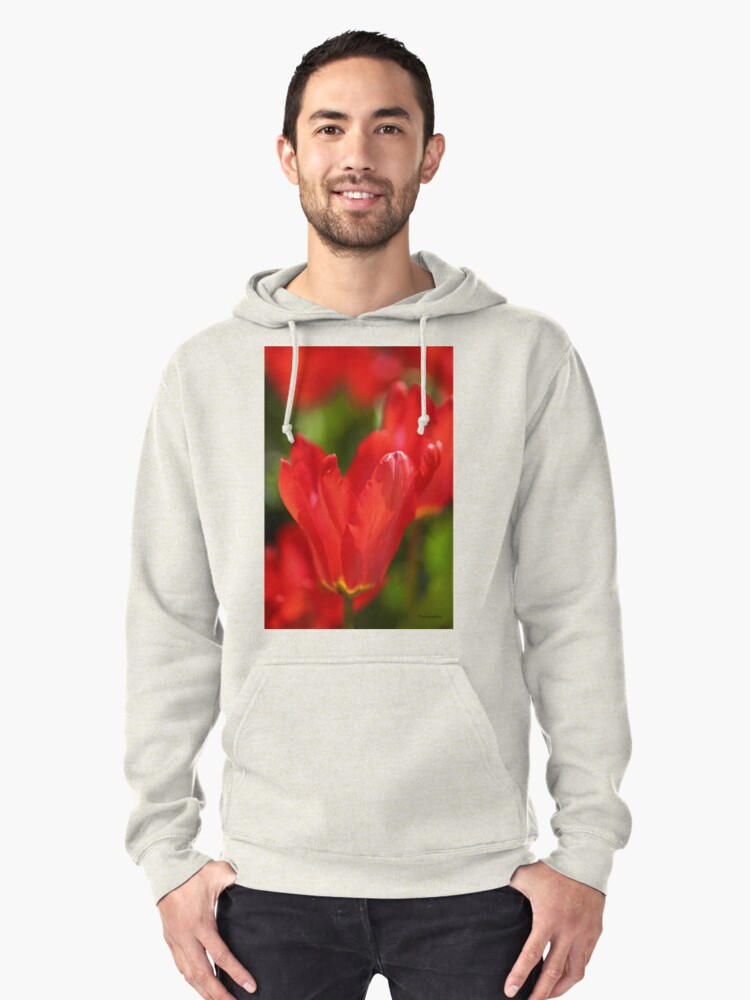 Red Tulips Pullover Hoodie Front