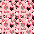 Cat Hearts valentines day love cats pattern by PetFriendly