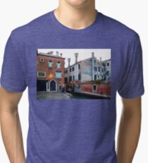 Impressions Of Venice - Side Canal Palazzi and a Charming Christmassy Bridge Tri-blend T-Shirt