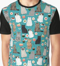 Cat Sushi Party pattern by pet friendly Graphic T-Shirt