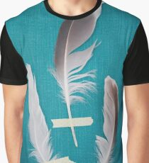 3 Feathers on Teal Graphic T-Shirt