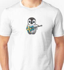 Baby Penguin Playing Swedish Flag Guitar T-Shirt