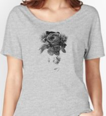 black and white beaded floral sculptural print Women's Relaxed Fit T-Shirt
