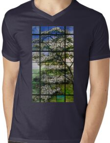 Dogwood Stained Glass Window Mens V-Neck T-Shirt
