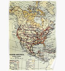 Old map of North America 1865 - 1907 Poster