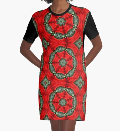 Red And Green Circles Pattern Graphic T-Shirt Dress