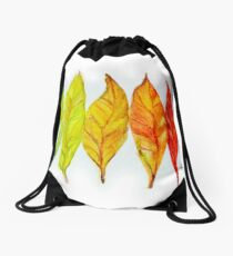 Colorful watercolor painting of autumn leaves Drawstring Bag