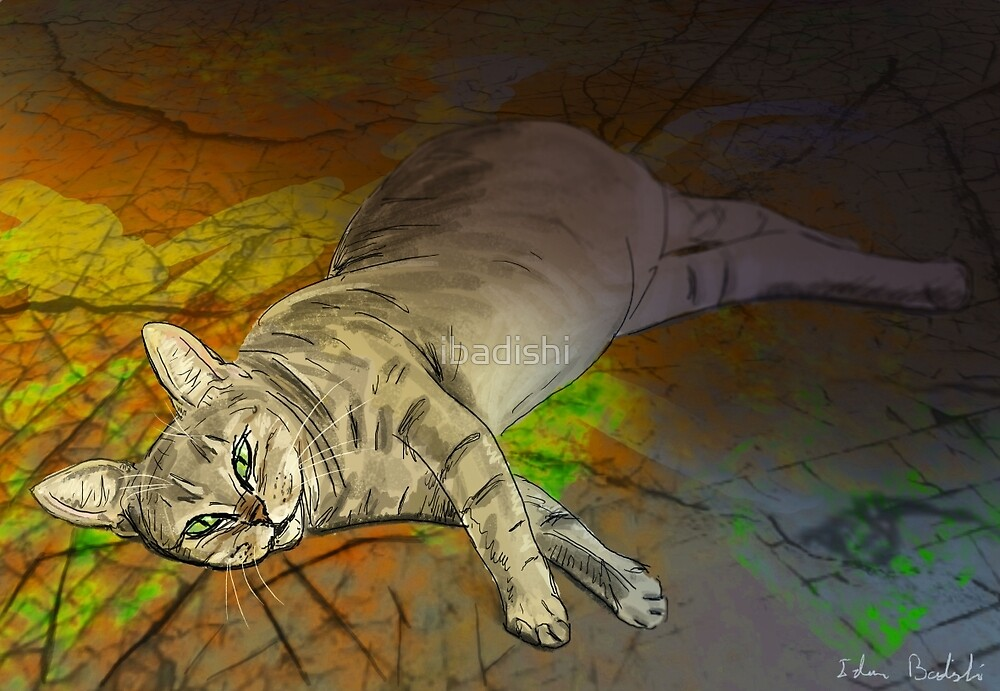Orange Alley Cat Laying on the Street Looking at You  by ibadishi
