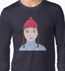 Cute Girl with Big Green Eyes and a Red Hat on a Snowy Scene with her Skis  Long Sleeve T-Shirt
