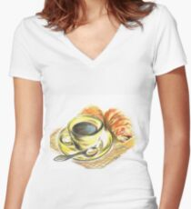 Morning Coffee with Croissants Women's Fitted V-Neck T-Shirt