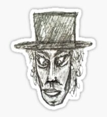 Man with Hat Head Pencil Drawing Illustration Sticker