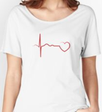 RED HEARTBEAT TEE Women's Relaxed Fit T-Shirt