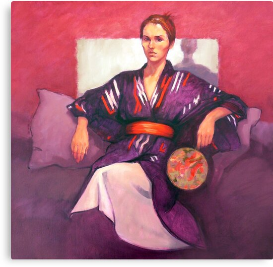 Portrait of Jo with fan, oil painting on canvas by Roz McQuillan