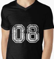 Sport Team Jersey 08 T Shirt Football Soccer Baseball Hockey Double Basketball Eight Zero 0 8 Men's V-Neck T-Shirt