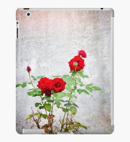 Red roses against wall iPad Case/Skin