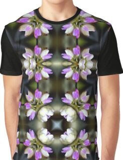 Pink And White Flower Abstract Graphic T-Shirt