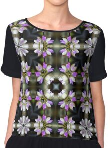 Pink And White Flower Abstract Women's Chiffon Top