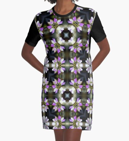 Pink And White Flower Abstract Graphic T-Shirt Dress