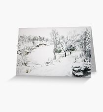 Snowy Rivington Pike Chinese Gardens Greeting Card
