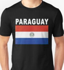 Paraguay Distressed Flag Soccer Theme Unisex T-Shirt