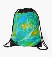Green/Gold/Blue Crystals Drawstring Bag
