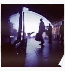 Passenger with luggage boarding old train in station blue square Hasselblad medium format film analog photo Poster