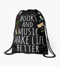 books and music make life better Drawstring Bag