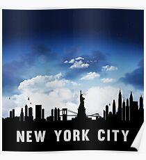 New York City Skyline Cityscape Nightfall Poster
