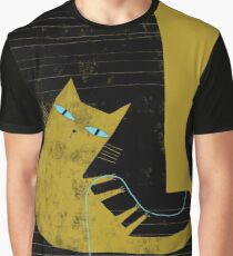 YELLOW CAT BLACK CHAIR Graphic T-Shirt