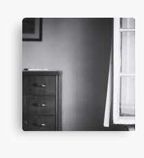 Country house window open summer afternoon Tuscany Italy black and white square silver gelatin film analog photo Canvas Print
