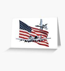 US Flag Aith A10's Greeting Card