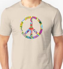 Peace Sign Cool Retro Flowers Design Unisex T-Shirt