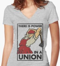 There Is Power in a Union (Vector Recreation) Women's Fitted V-Neck T-Shirt