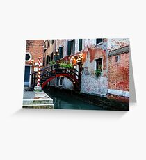 Impressions Of Venice - the Charming Christmassy Bridge Up Close Greeting Card