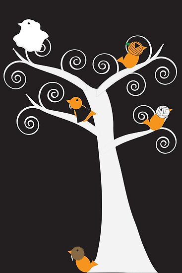 Halloween Five Birds  by ValeriesGallery