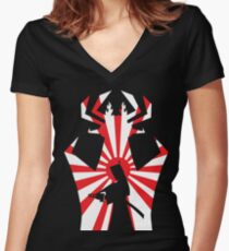 Jack on The Attack in Black Women's Fitted V-Neck T-Shirt
