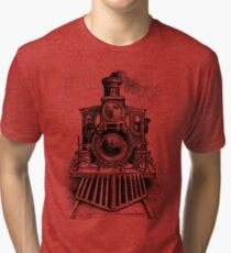 Vintage Locomotive Train - Front Facing Tri-blend T-Shirt