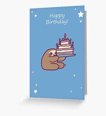 Alles Gute zum Geburtstag Kuchen Faultier Grußkarte