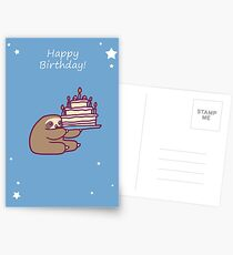 Happy Birthday Cake Sloth Postcards