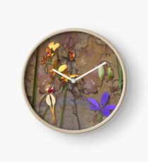 Orchids and Wildflowers on old rusty Pink n Caramel Metal Clock