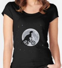 Dinosaur Moon Women's Fitted Scoop T-Shirt