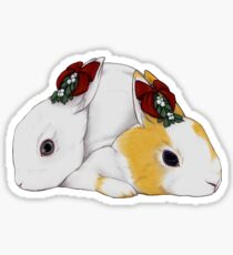 Mistletoe Rabbit Couple Sticker