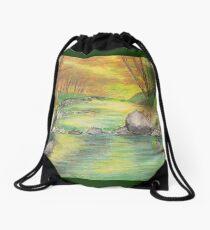Peaceful River Scene Drawstring Bag