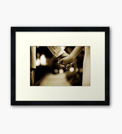 Bride and groom holding hands sepia toned black and white silver gelatin 35mm film analog wedding photograph Framed Print