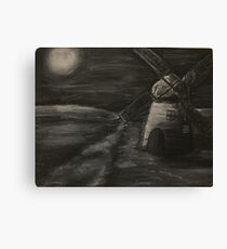 Black and White Windmill Canvas Print