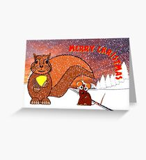 A Squirrel and Mouse Merry Christmas Greeting Card
