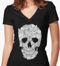 Camiseta entallada de cuello en V Cráneo de gato
