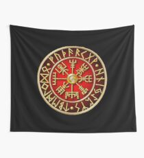 Norse Vegvisir Runes - Red Wall Tapestry